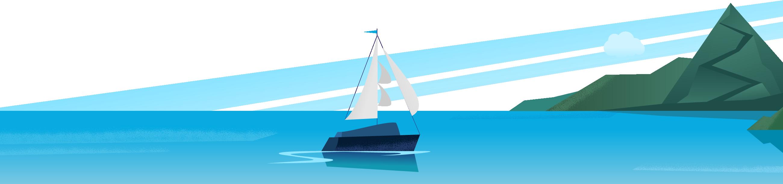 CloudKettle sailboat approaching an island